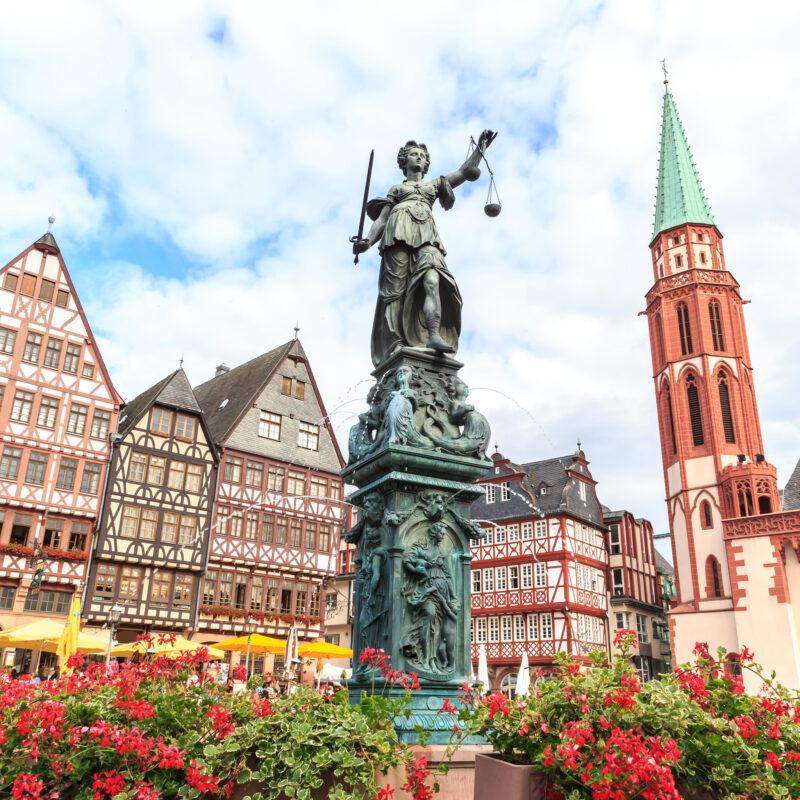 The square of Romerberg in Frankfurt, Germany.