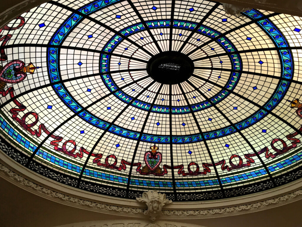 The stained-glass dome ceiling in Boldt Castle.