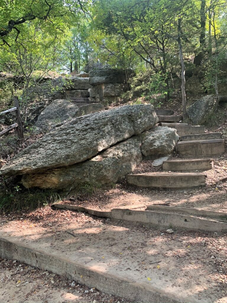 The stairs that lead down to The Blue Hole.