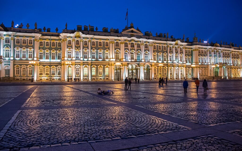 The State Hermitage Museum at night.