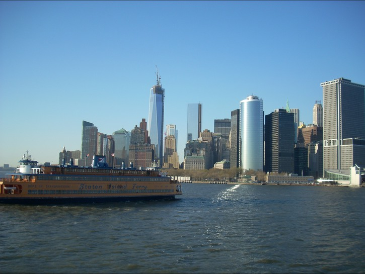 The Staten Island ferry against the New York skyline
