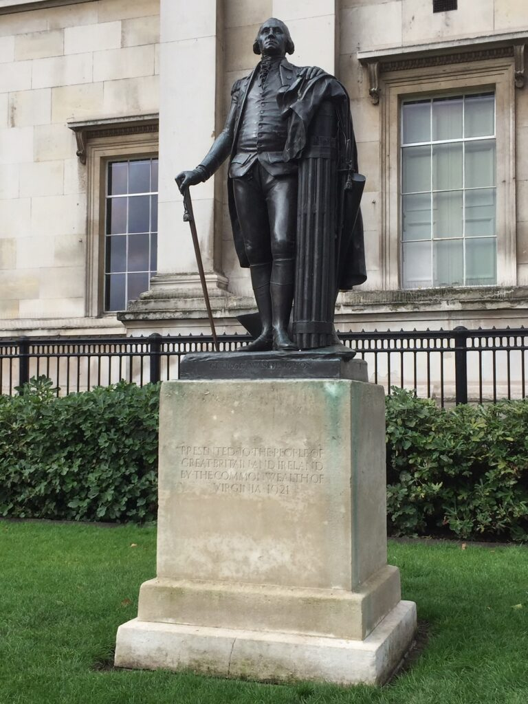The statue of George Washington in Trafalgar Square.