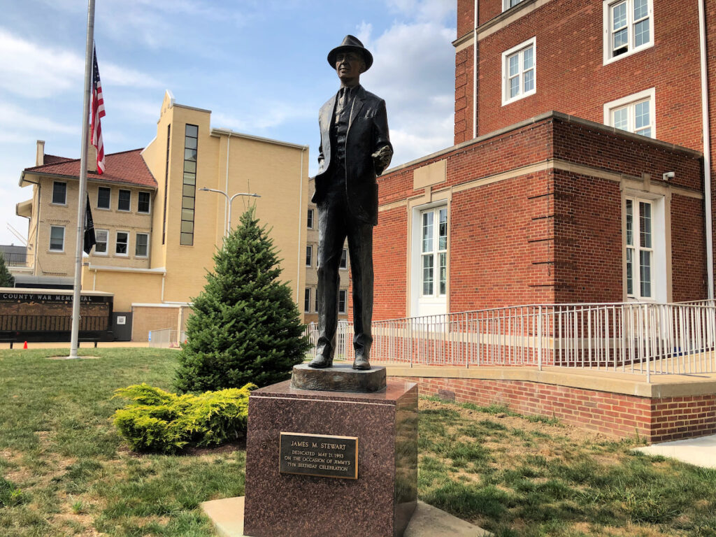 The statue of Jimmy Stewart in Indiana, Pennsylvania.
