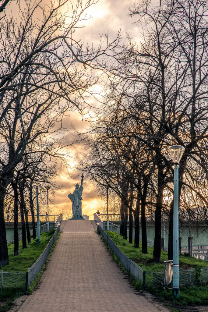 The Statue of Liberty on Ile aux Cygnes in Paris, France.