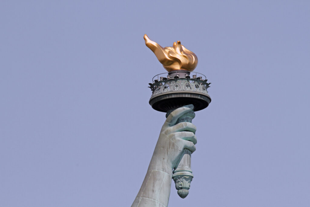 The Statue of Liberty's torch in New York City.