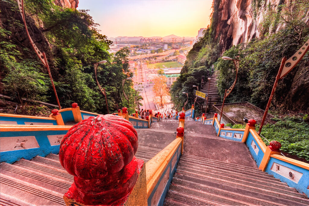 The steep staircase entrance to the Batu Caves.