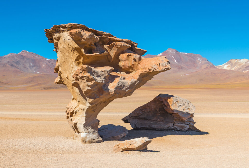 The Stone Tree at the Uyuni Salt Flats in Bolivia.