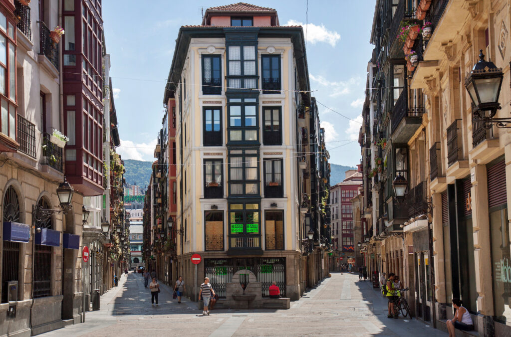 The streets of Bilbao's Old Town, Casco Viejo.