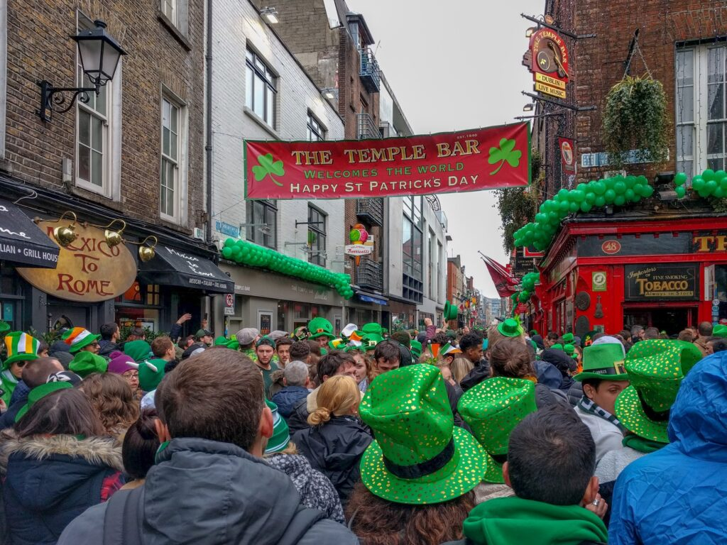 The streets of Dublin on Saint Patrick's Day.