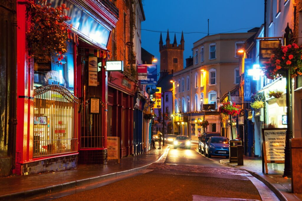 The streets of Ennis in County Clare, Ireland.