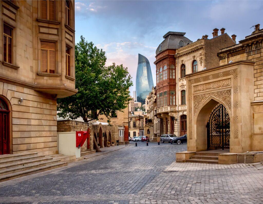 The streets of Icheri Sheher in Baku, Azerbaijan.