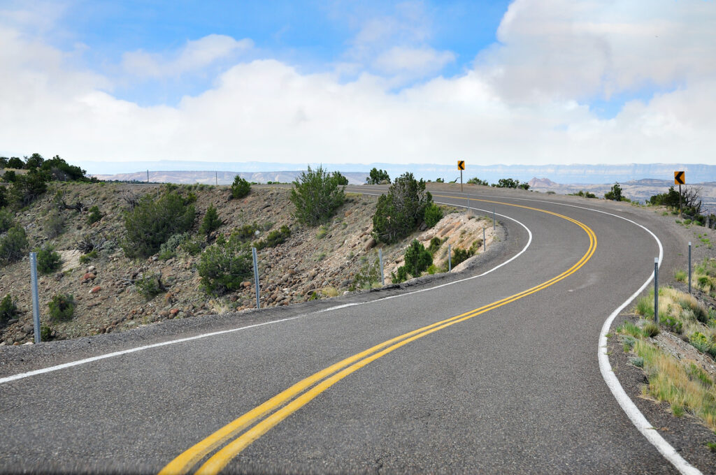 The stretch of highway known as Hogback in Utah.