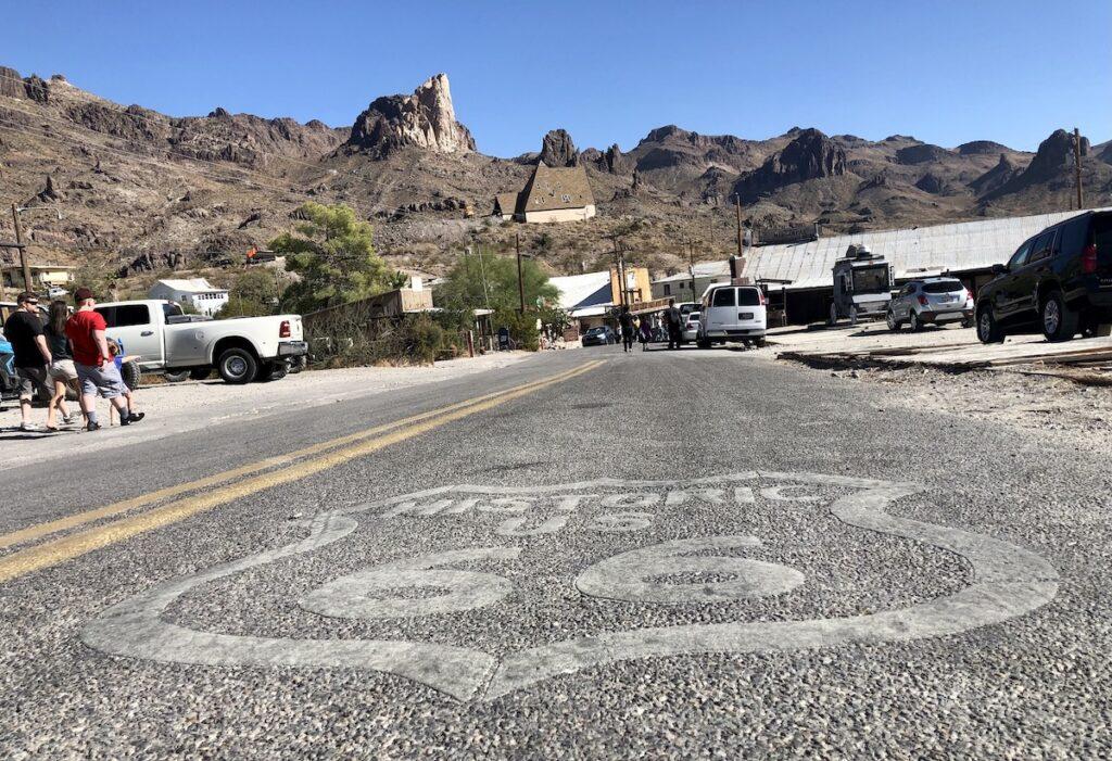 The stretch of Route 66 in Oatman, Arizona.