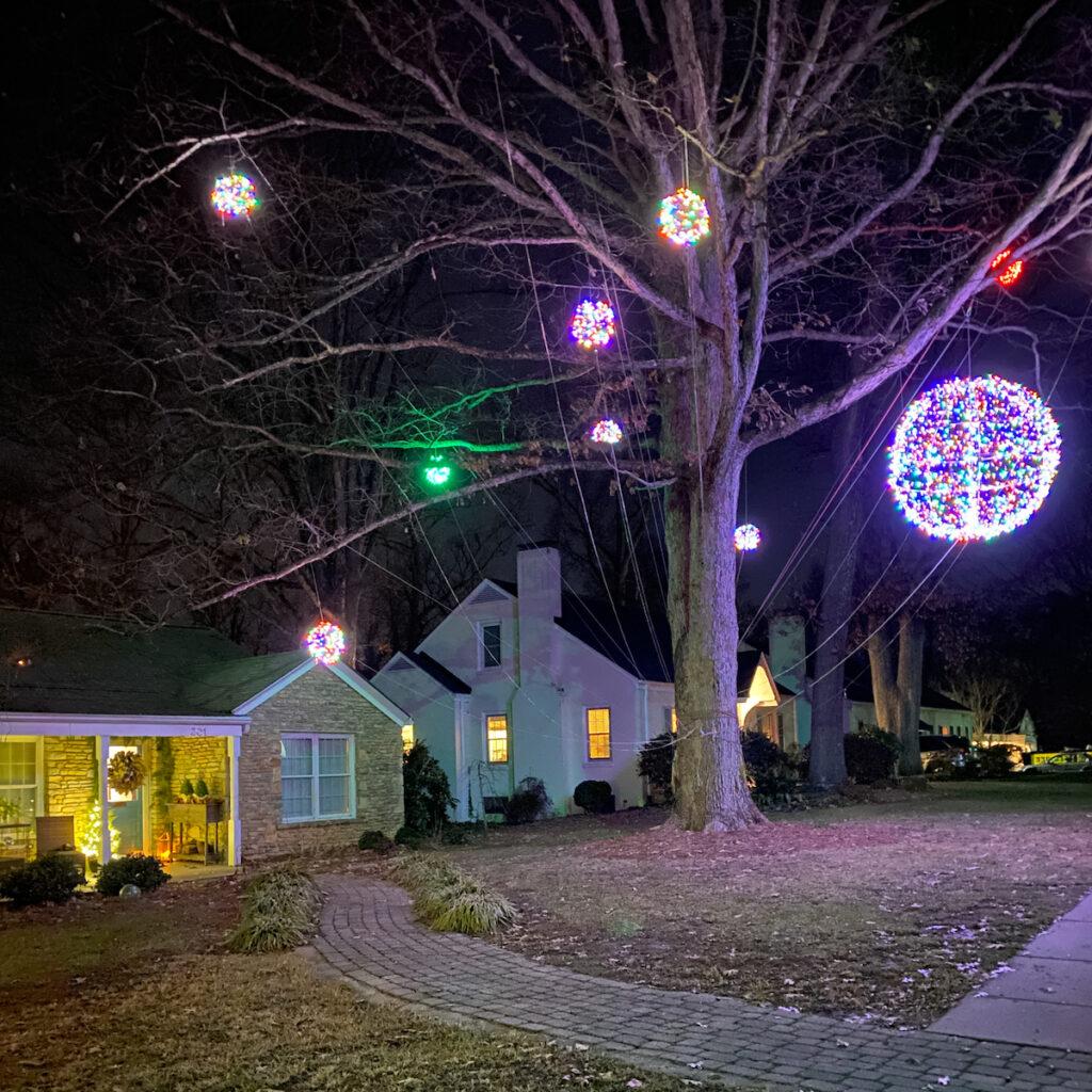 The Sunset Hills neighborhood light display in Greensboro.