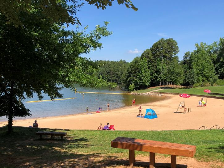 The swimming area at Lake Norman State Park.