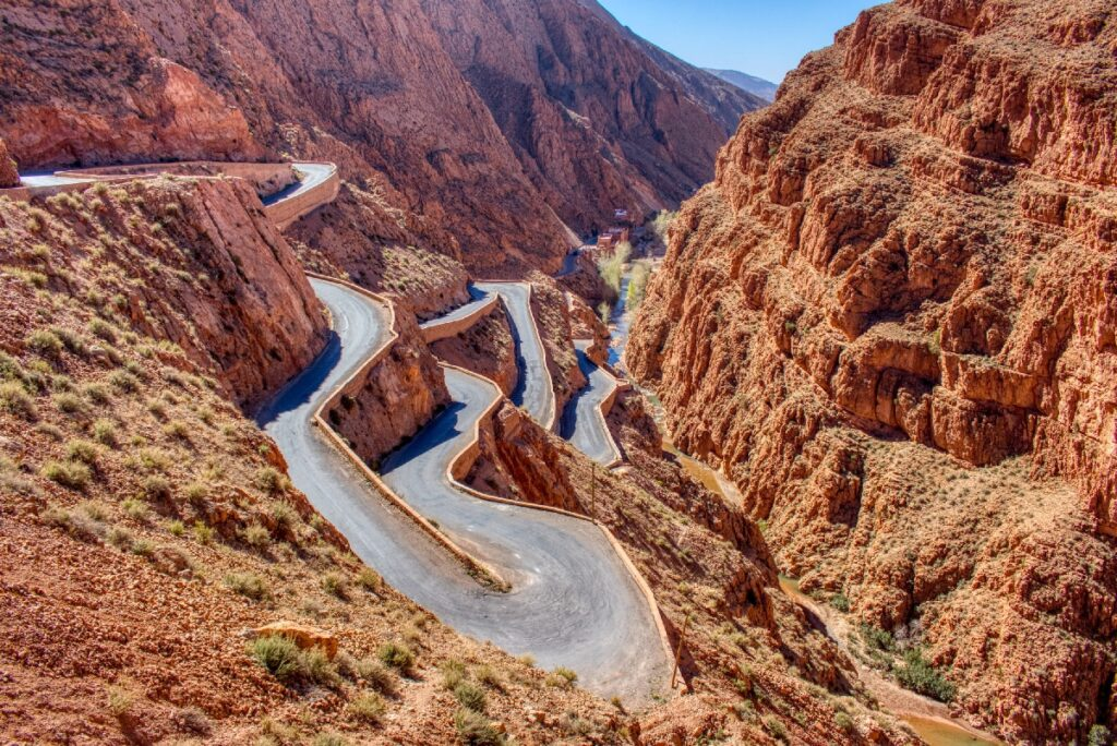The switchback road in Dades Gorge, Morocco.