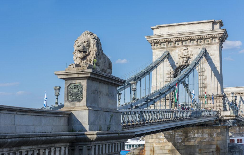 The Szechenyi Bridge in Budapest, Hungary.