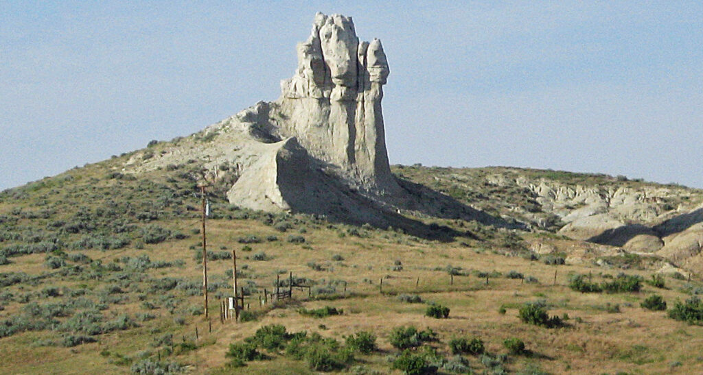 The Teapot rock formation at Teapot Dome in Wyoming.