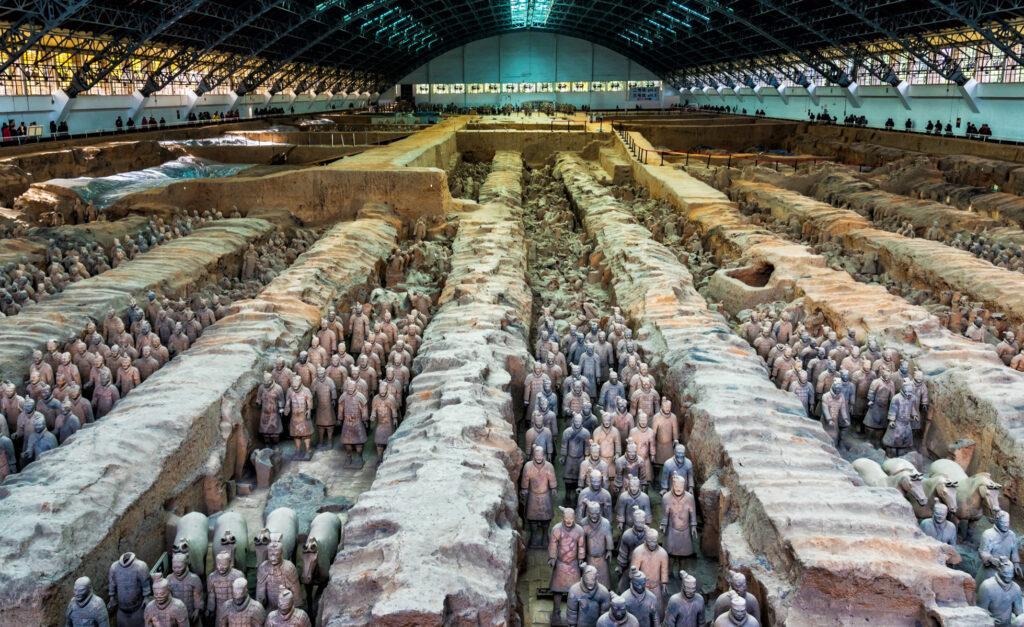 The terra-cotta warriors in Emperor Qin's tomb.