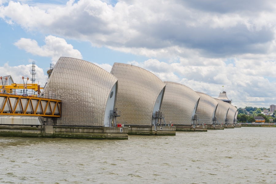 The Thames Barrier in London.