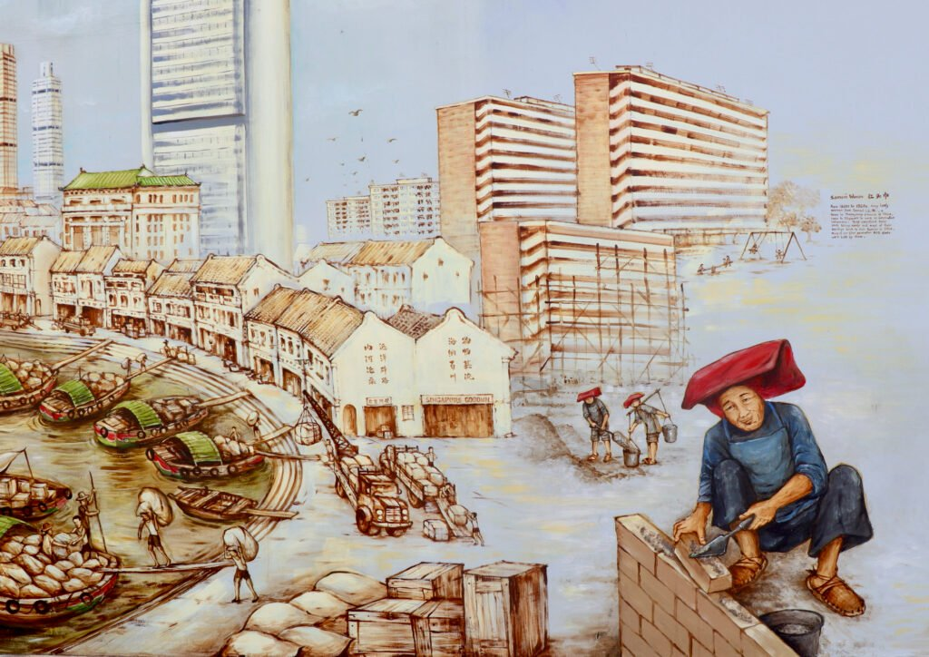 The Thian Hock Keng wall mural in Singapore.
