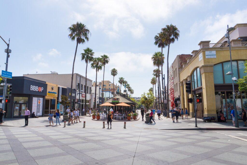 The Third Street Promenade in Santa Monica.