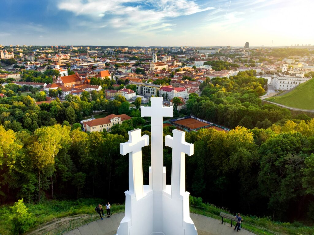 The Three Crosses Monument, overlooking Old Town.