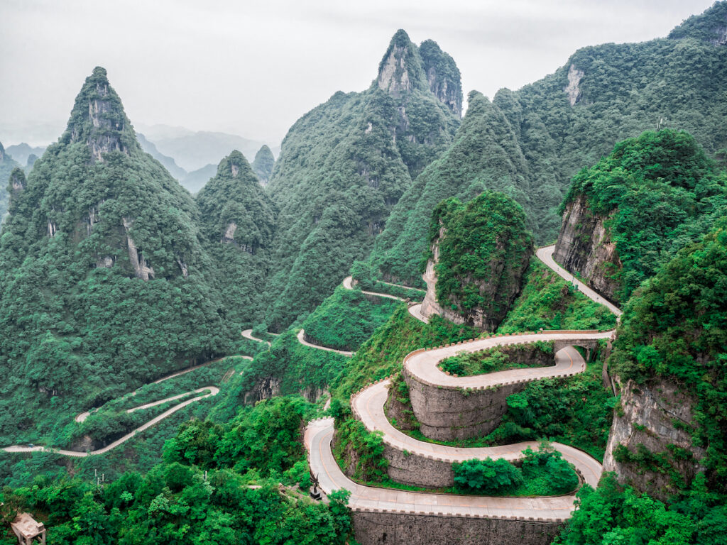 The Tianmen Winding Mountain Road in China.