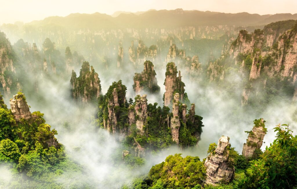 The Tianzi Mountains in China.