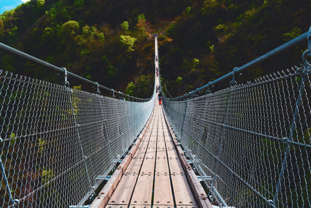 The Tibetan Hanging Bridge of Curzutt in Switzerland.