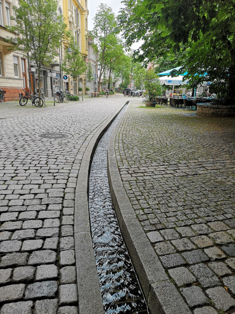 The tiny Bachle canal in Freiburg.