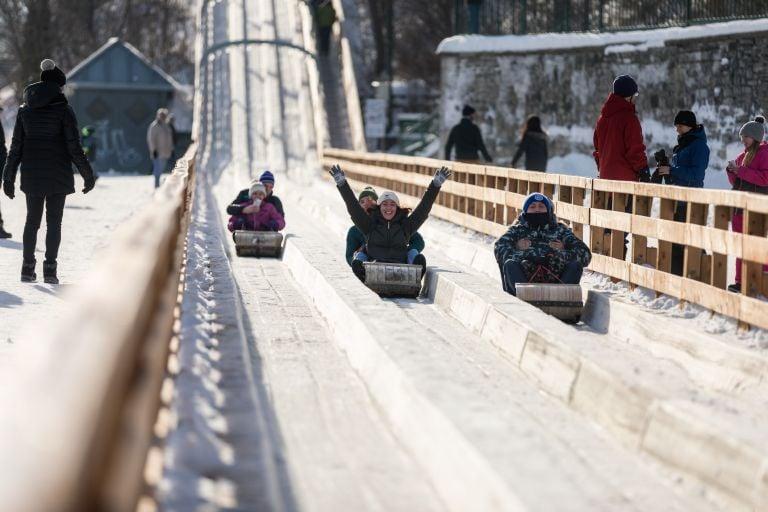 The toboggan slide in Quebec City, Canada.