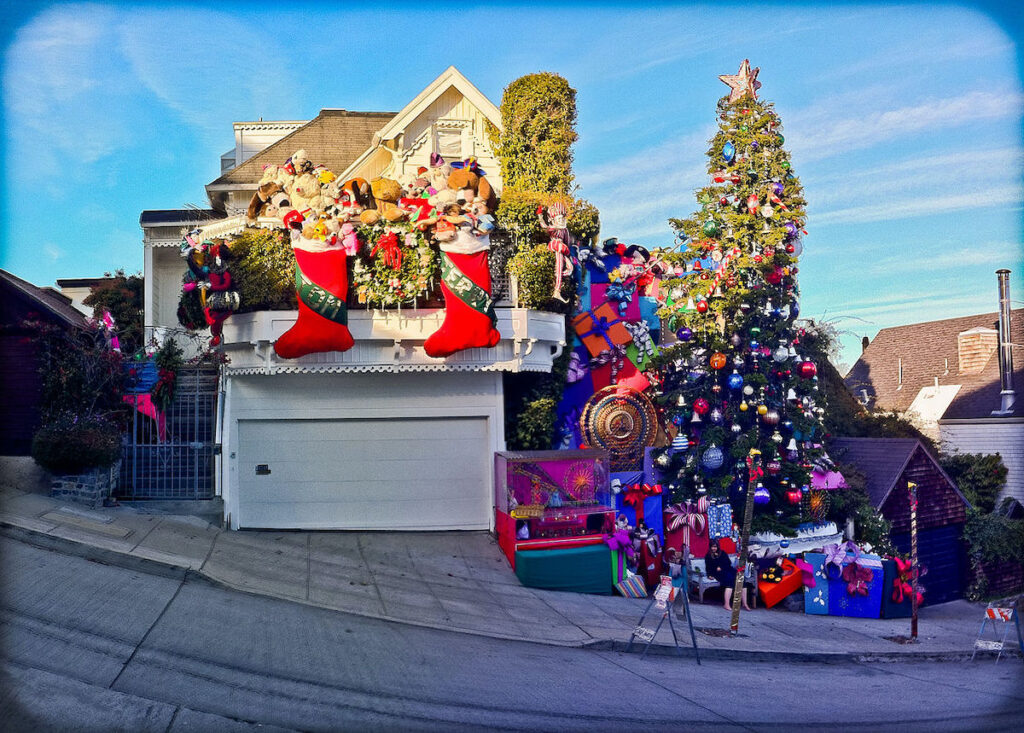 The Tom and Jerry House in San Francisco during Christmas.