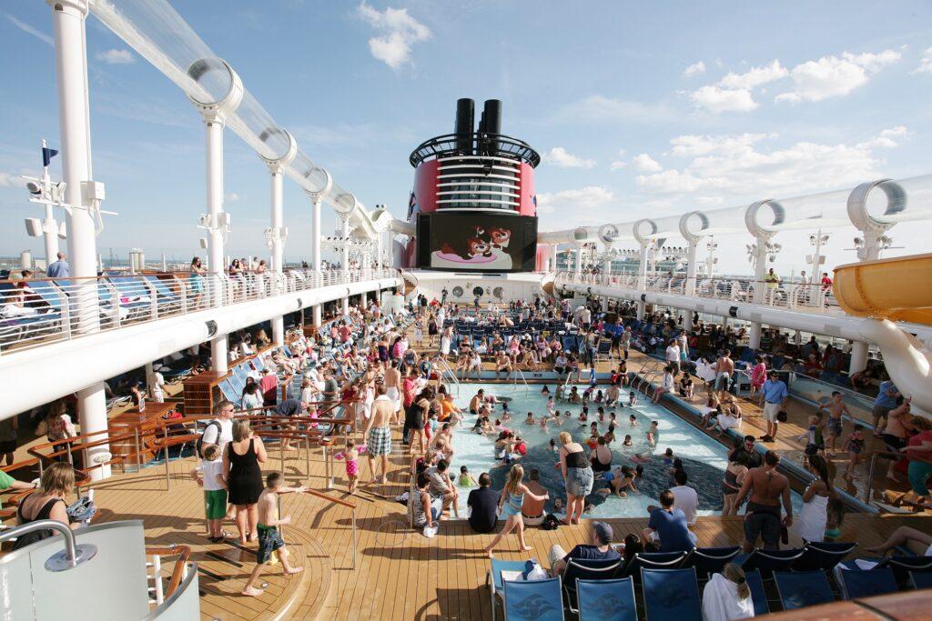 The top deck of a Disney cruise ship.