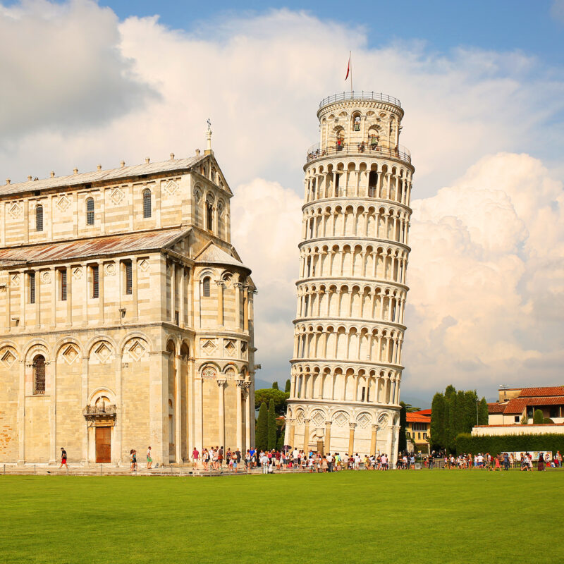 The Tower of Pisa in Italy.