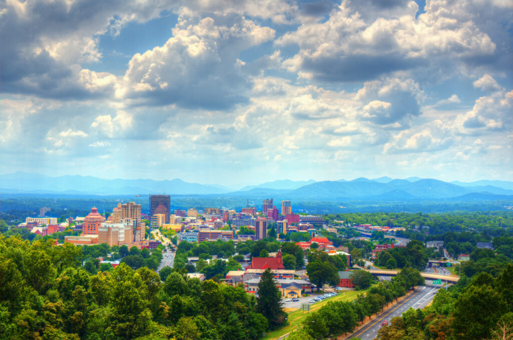 The town of Asheville, North Carolina.