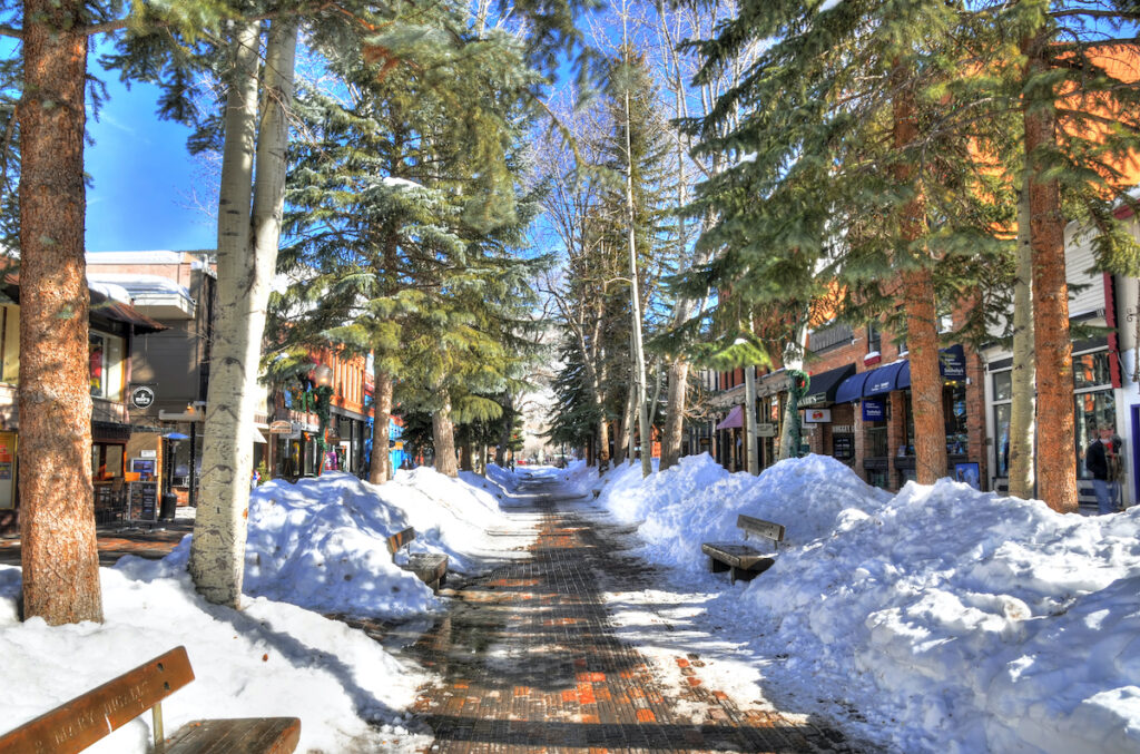 The town of Aspen, Colorado, during winter time.