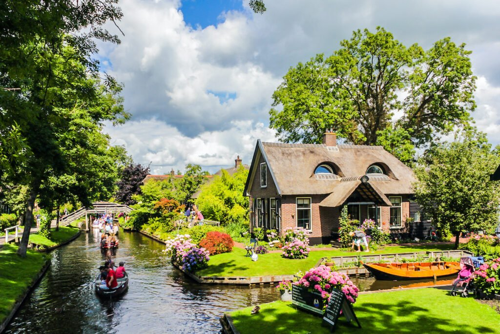 The town of Giethoorn in the Netherlands.