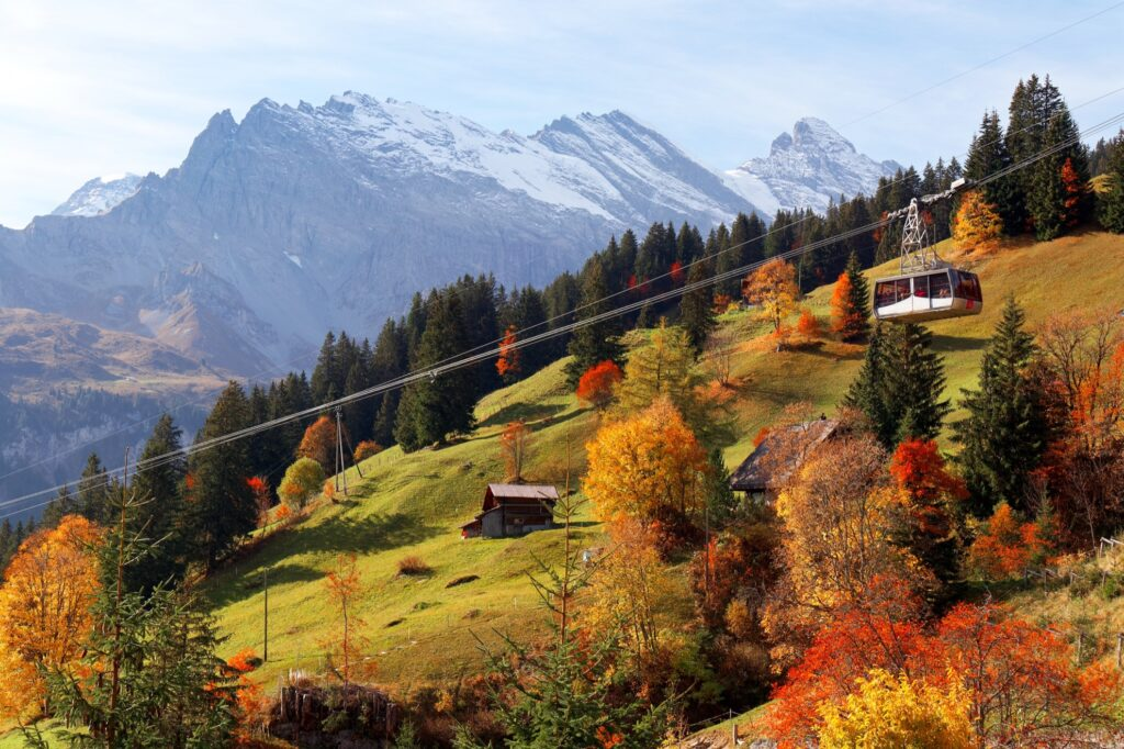 The town of Gimmelwald in Switzerland.