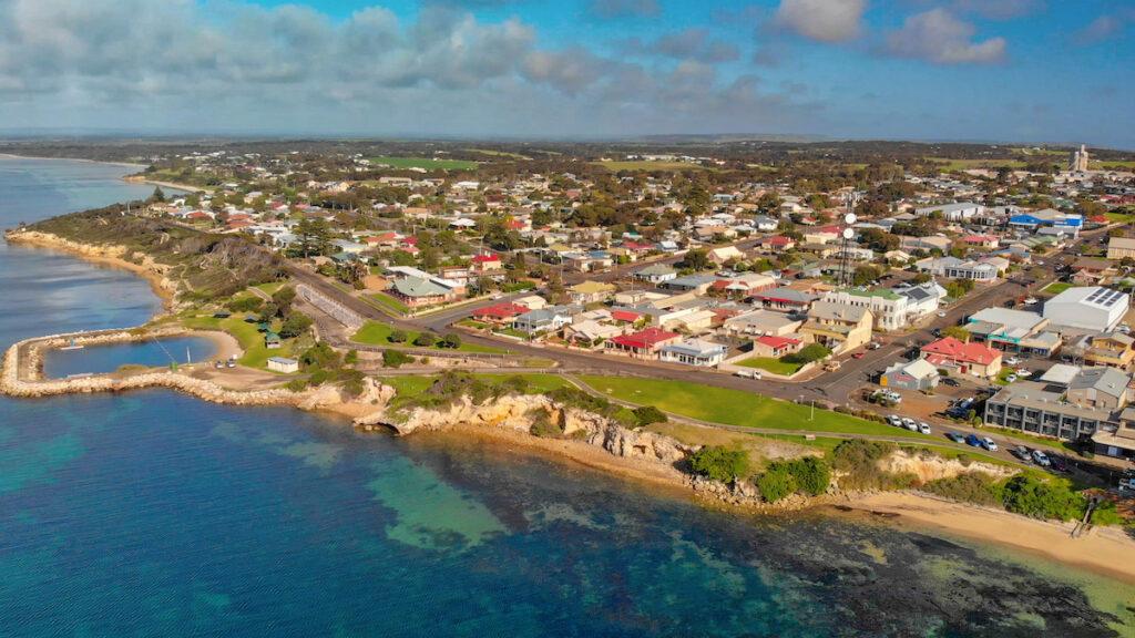 The town of Kingscote on Kangaroo Island.