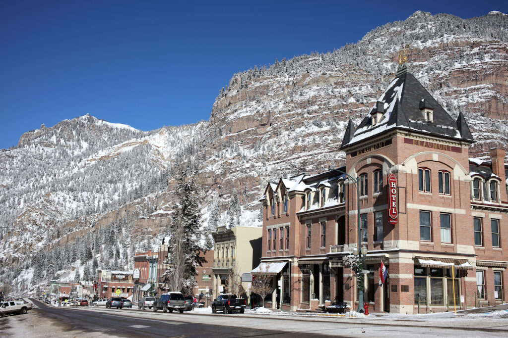 The town of Ouray, Colorado, during winter.