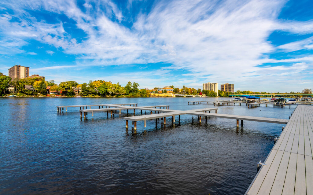 The town of Rockford, Illinois, along the Rock River.