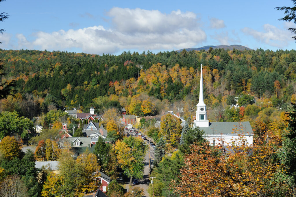 The town of Stowe, Vermont.