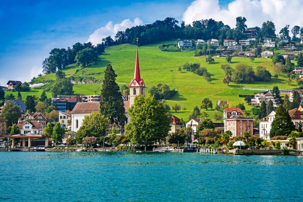 The town of Weggis on Lake Lucerne in Switzerland.