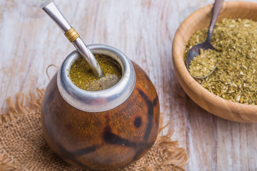 The traditional Argentinian yerba mate drink.