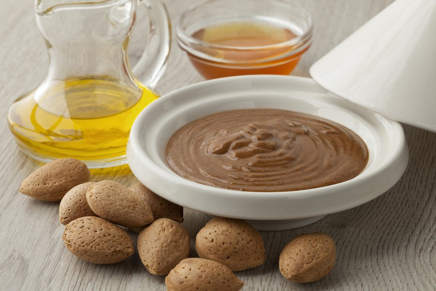 The traditional Moroccan dip amlou, made with argan oil.