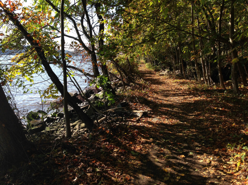 The trail along the Hudson in Palisades Interstate Park.