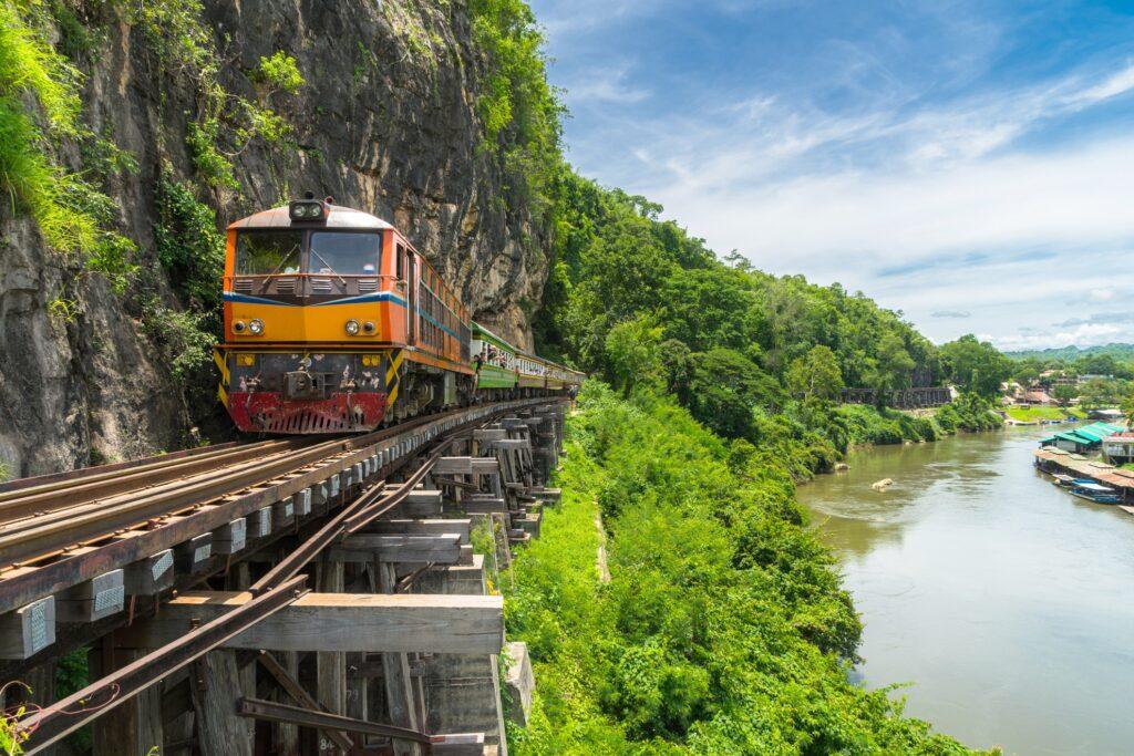 The train on the River Kwai Bridge in Kanchanaburi.
