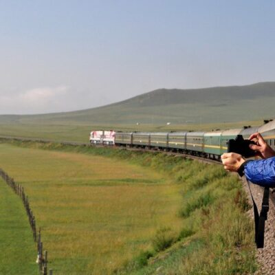 The Trans-Siberian Railway in Mongolia.