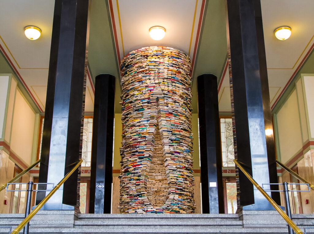 The tunnel of books at the Municipal Library in Prague.
